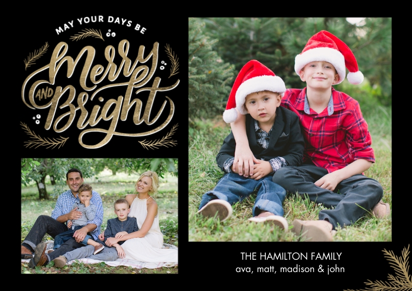Christmas Photo Cards 5x7 Cards, Premium Cardstock 120lb with Elegant Corners, Card & Stationery -Christmas Happy Merry Bright Collage by Tumbalina