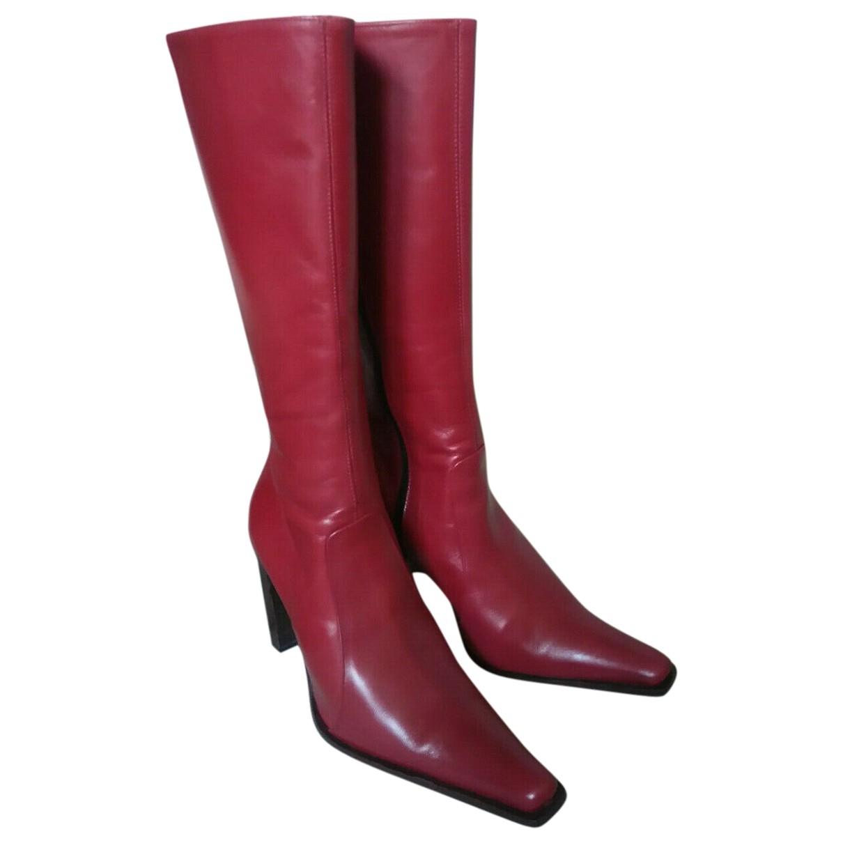 - Bottes   pour femme en cuir - rouge