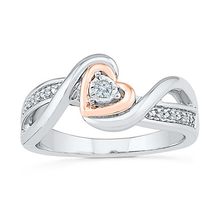 Promise My Love Womens Diamond Accent Genuine White Diamond 10K Gold Over Silver Heart Promise Ring, 4 , No Color Family