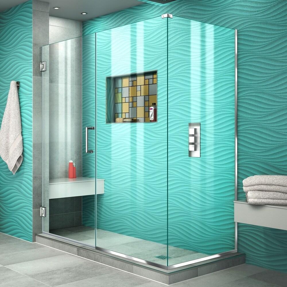 DreamLine Unidoor Plus 54 in. W x 30 3/8 in. D x 72 in. H Frameless Hinged Shower Enclosure - 30.38
