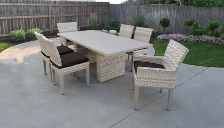 Fairmont Collection FAIRMONT-DTREC-KIT-4ADC2DCC-BLACK Patio Dining Set With 1 Table  4 Side Chairs  2 Arm Chairs - Beige and Black