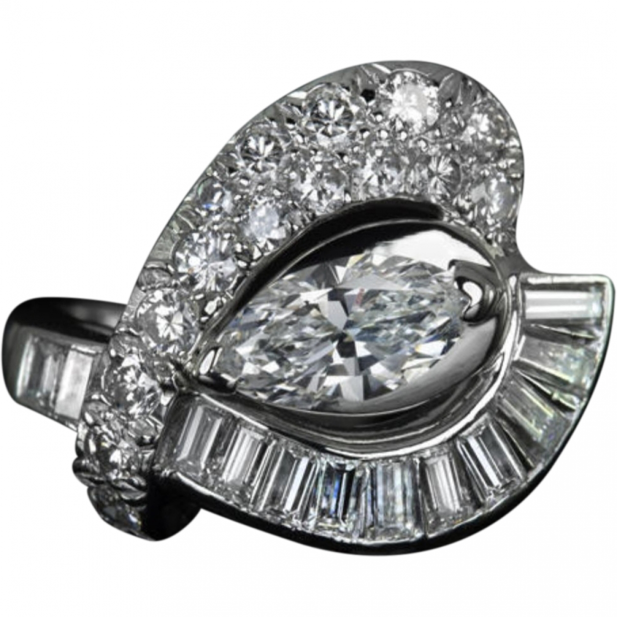 Non Signé / Unsigned Art Déco White White gold ring for Women \N