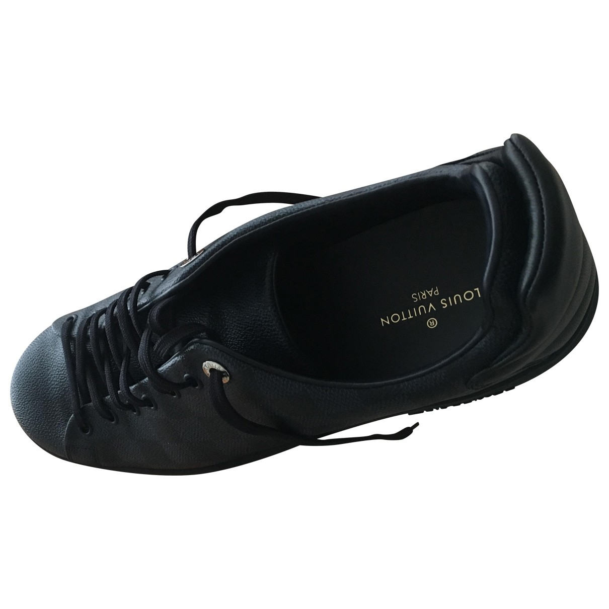 Louis Vuitton Luxembourg Black Leather Trainers for Men 10.5 US