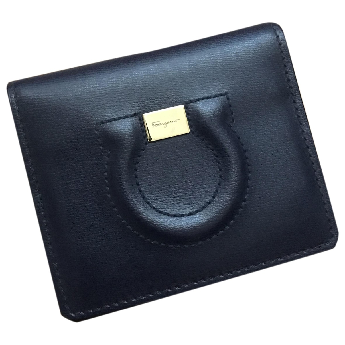 Salvatore Ferragamo \N Navy Leather Small bag, wallet & cases for Men \N