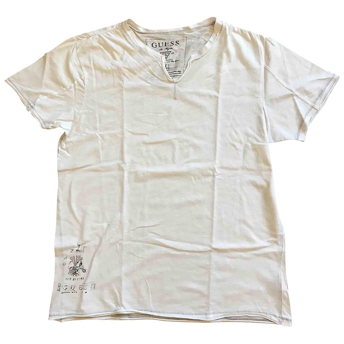 Guess N White Cotton T-shirts for Men L International