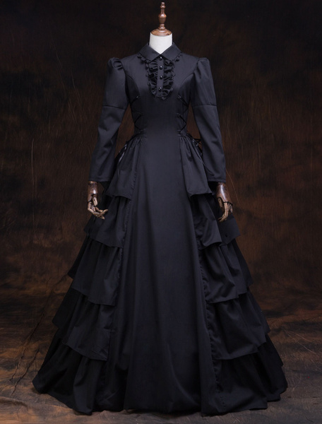 Milanoo Victorian Dress Costume Women's Black Ruffles Masquerade Ball Gowns Long Sleeves lapel Victoria Era Clothing Retro Costume Halloween