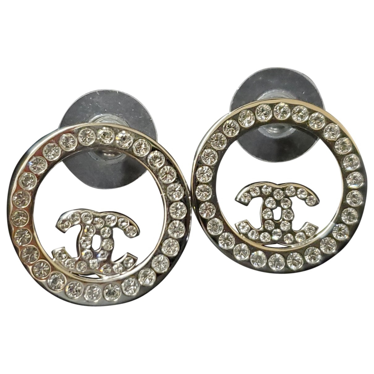 Chanel CC OhrRing in  Silber Metall