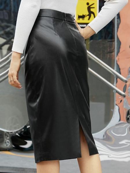 YOINS Black Faux Leather Slit Design Skirt