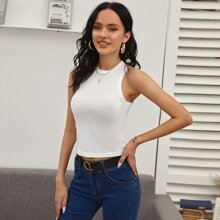 Solid Form Fitting Crop Tank Top