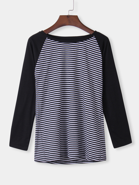 Yoins Black Stripe Round Neck Raglan Sleeve Top