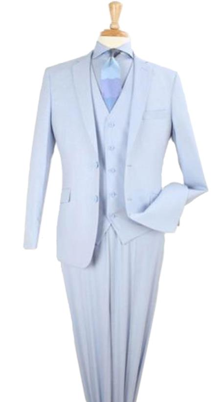 Mens 3 piece modern fit Poly Rayon vested blue suit Flat Front Pants
