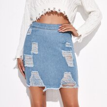 Zipper Back Ripped Detail Denim Skirt