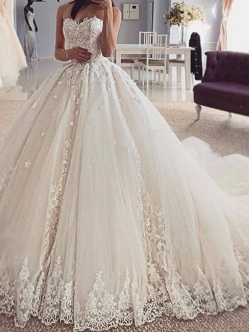 Ericdress Sleeveless Ball Gown Appliques Strapless Hall Wedding Dress 2020