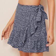 Falda con cordon lateral ribete fruncido con estampado de dalmata