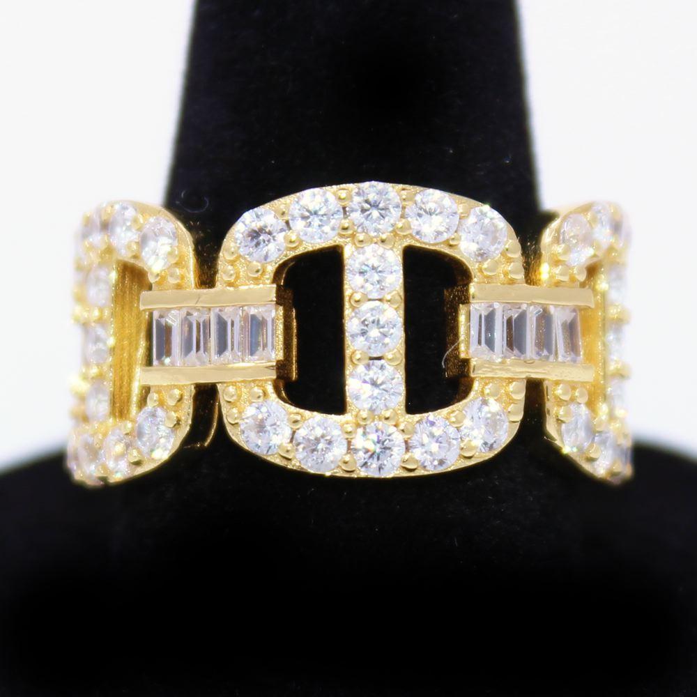 .925 Silver Baguette Mariner CZ Hip Hop Bling Ring