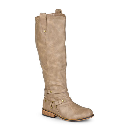 Journee Collection Womens Walla Wide Calf Riding Boots, 7 Medium, Beige