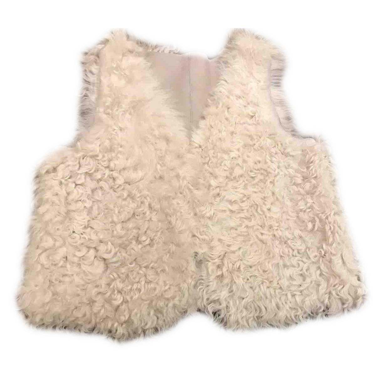 Bonpoint - Blousons.Manteaux   pour enfant en agneau de mongolie - beige