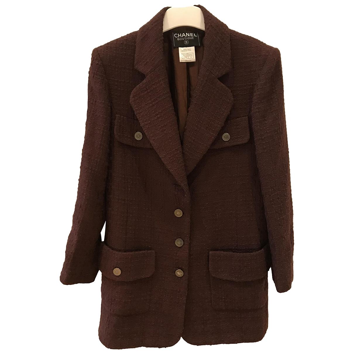 Chanel \N Burgundy Tweed jacket for Women 38 FR