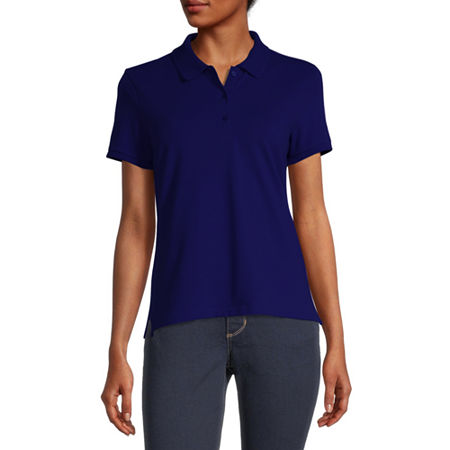 Arizona Juniors Womens Short Sleeve Knit Polo Shirt, 3x-large , Blue