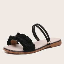 Ruffle Trim Two Way Wear Sandals