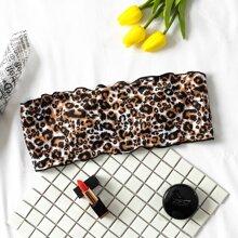 Leopard Lettuce Trim Bandeau Bikini Top