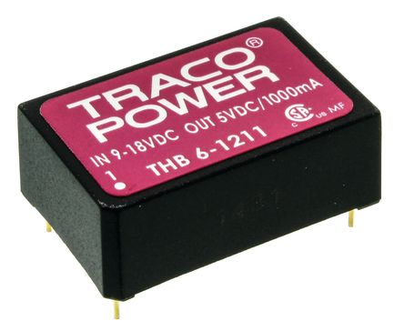 TRACOPOWER THB 6 6W Isolated DC-DC Converter Through Hole, Voltage in 9 → 18 V dc, Voltage out 5V dc Medical