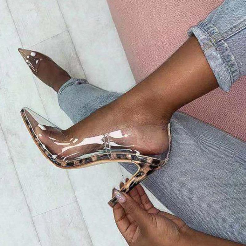Ericdress PVC Leopard Print Stiletto Heel Pointed Toe Slip-On Women's Pumps