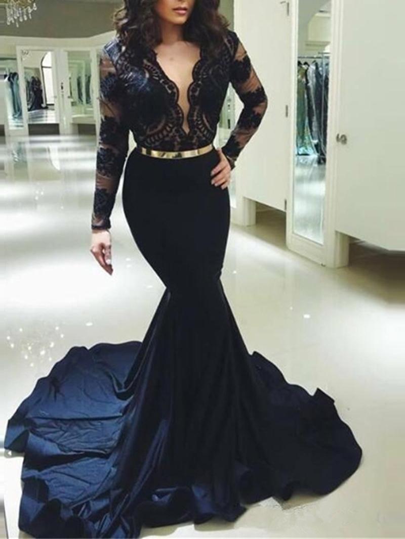 Ericdress V-Neck Long Sleeves Mermaid Evening Dress