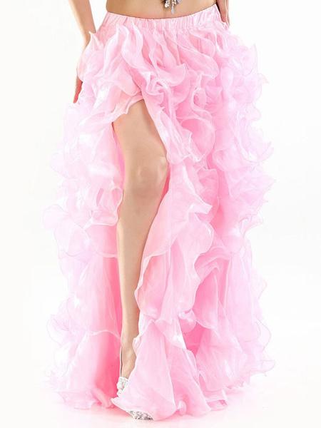 Milanoo Disfraz Halloween Falda larga de danza del vientre Ruffle de color morado oscuro Corte alto Ropa de danza del vientre para mujer Carnaval Hall