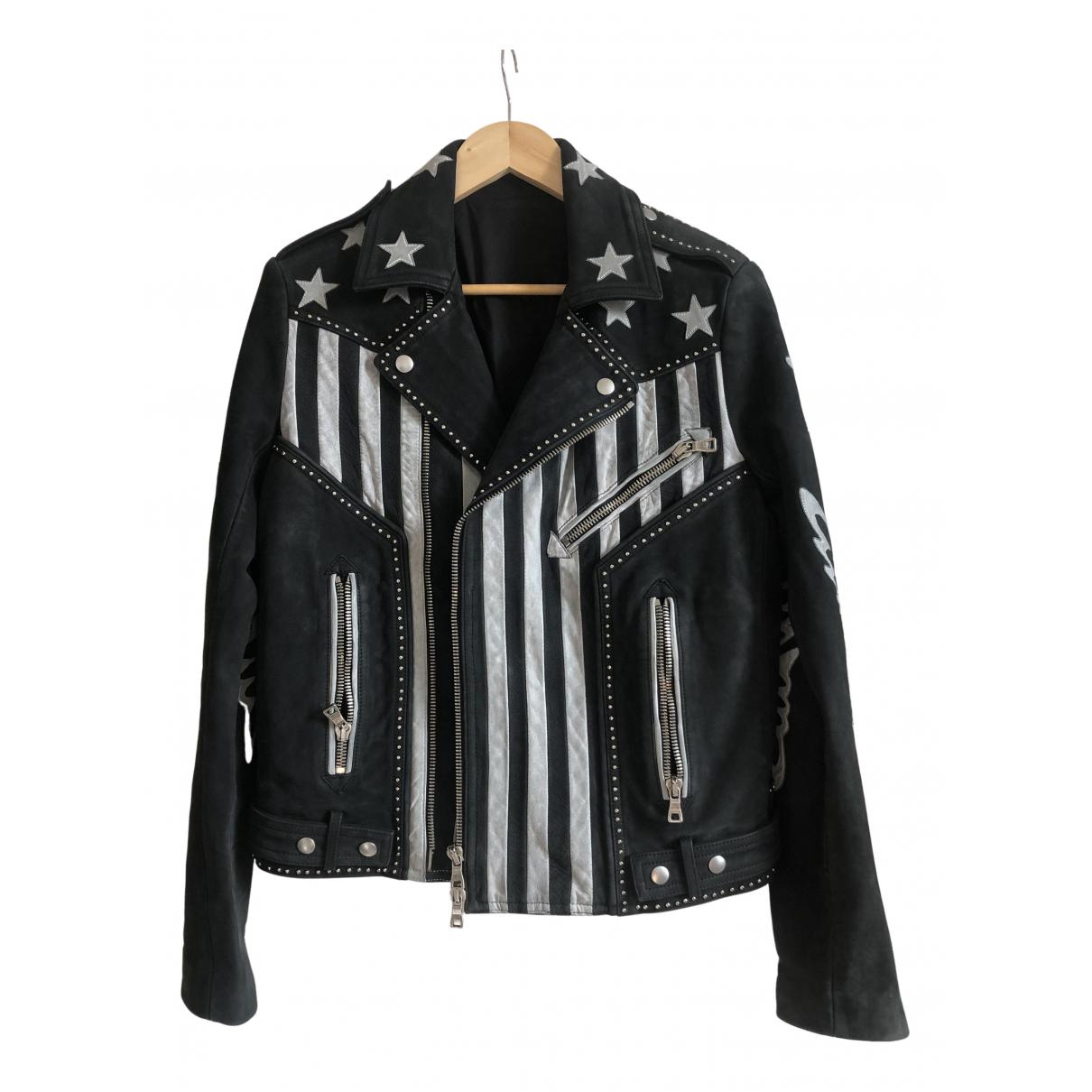 Balmain N Black Leather jacket  for Men 48 FR