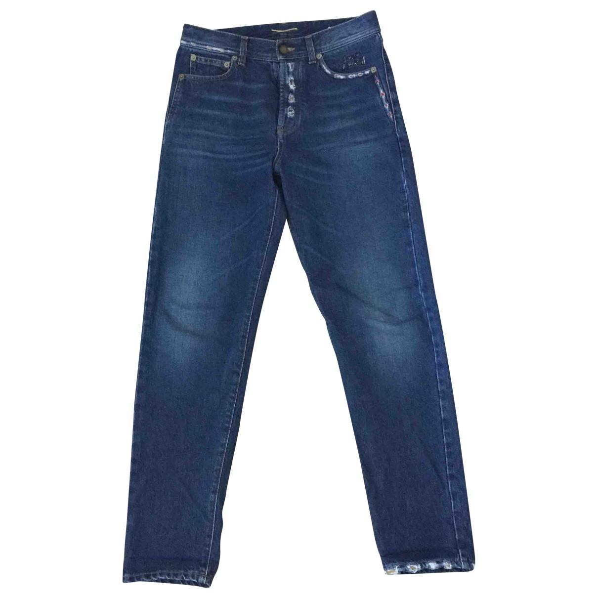 Saint Laurent \N Blue Cotton Jeans for Women 29 US