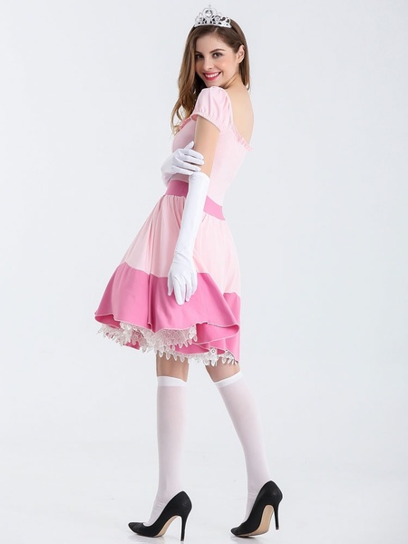 Milanoo Pink Super Mario Bros Skater Dress Costume Halloween