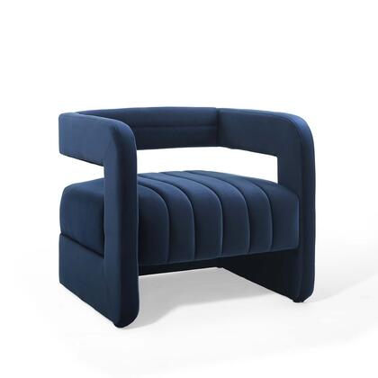 Range Collection EEI-3920-MID Tufted Performance Velvet Accent Armchair in Midnight Blue