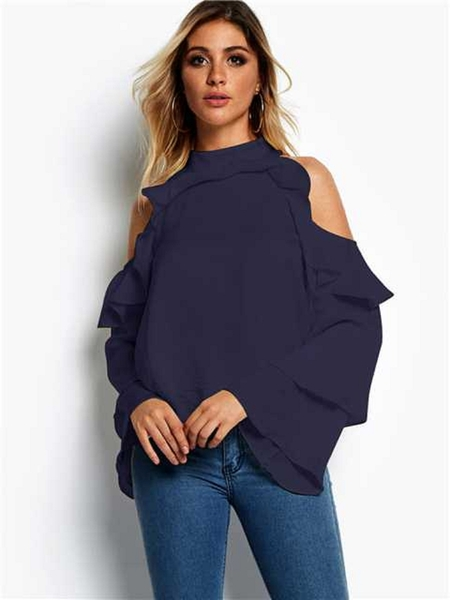 Yoins Navy Flounced Design Cold Shoulder Long Sleeves Blouse