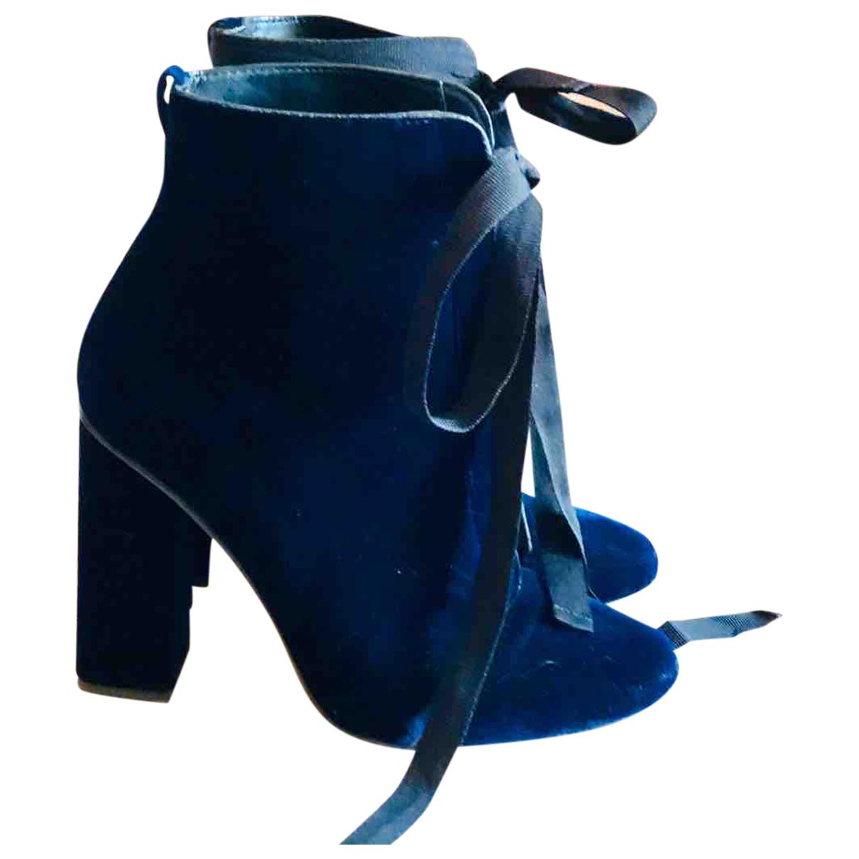 Zara - Bottes   pour femme en velours - marine