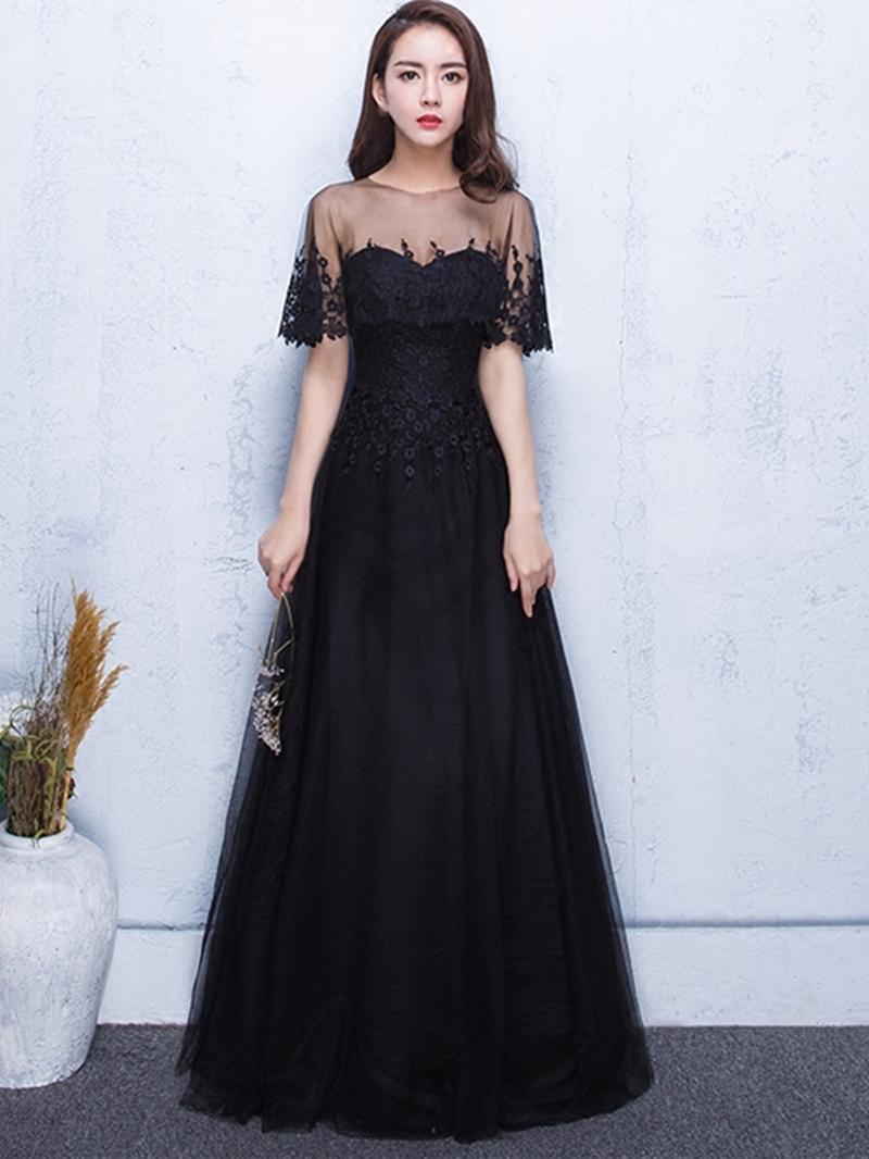 Ericdress Classic Black Short Sleeve Lace Applique Long A Line Evening Dress