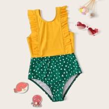 Girls Dalmatian Print Ruffle Trim One Piece Swimwear