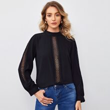Solid Guipure Lace Panel Blouse