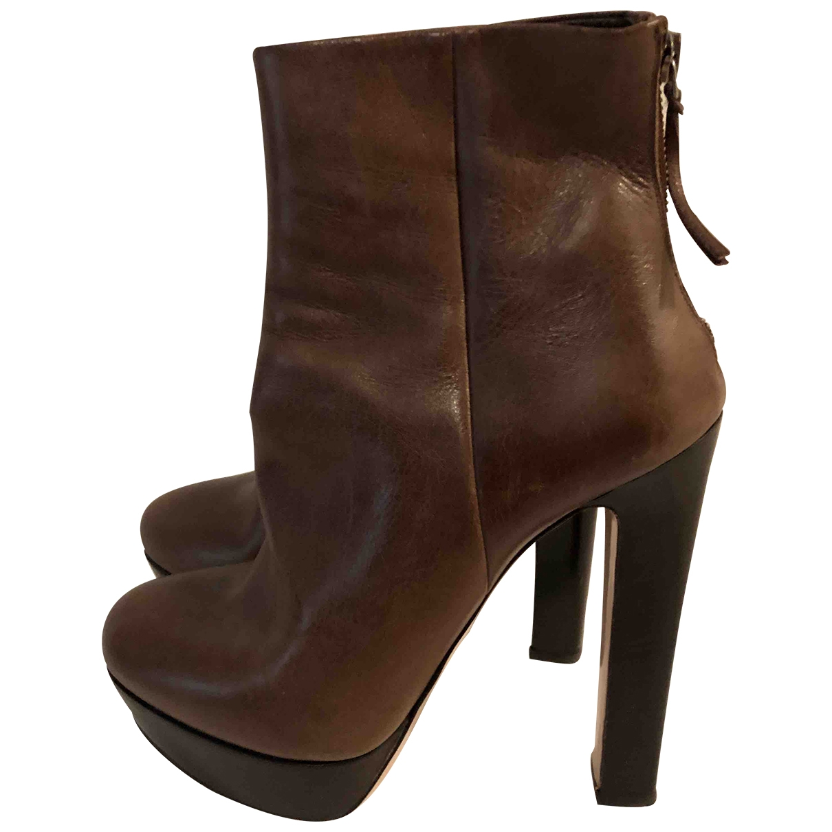 Miu Miu \N Brown Leather Ankle boots for Women 39 EU