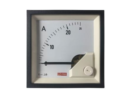 RS PRO Analogue Panel Ammeter 25 (Input)A AC, 72mm x 72mm, 1 % Moving Iron