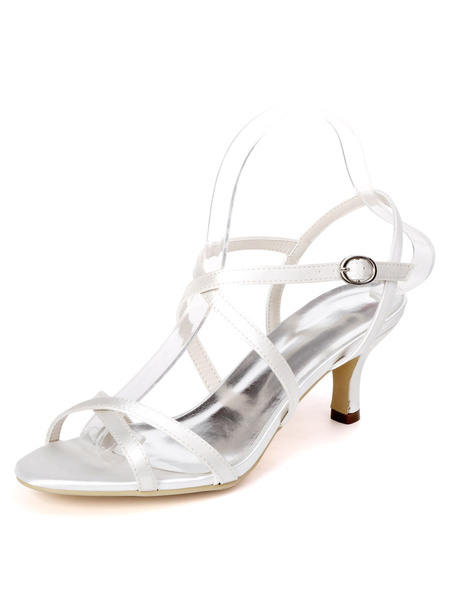 Milanoo Silver Wedding Shoes Satin Open Toe Criss Cross Kitten Heel Bridal Shoes Bridesmaid Shoes