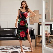 Samt Kleid mit Schlitz und Rose Muster