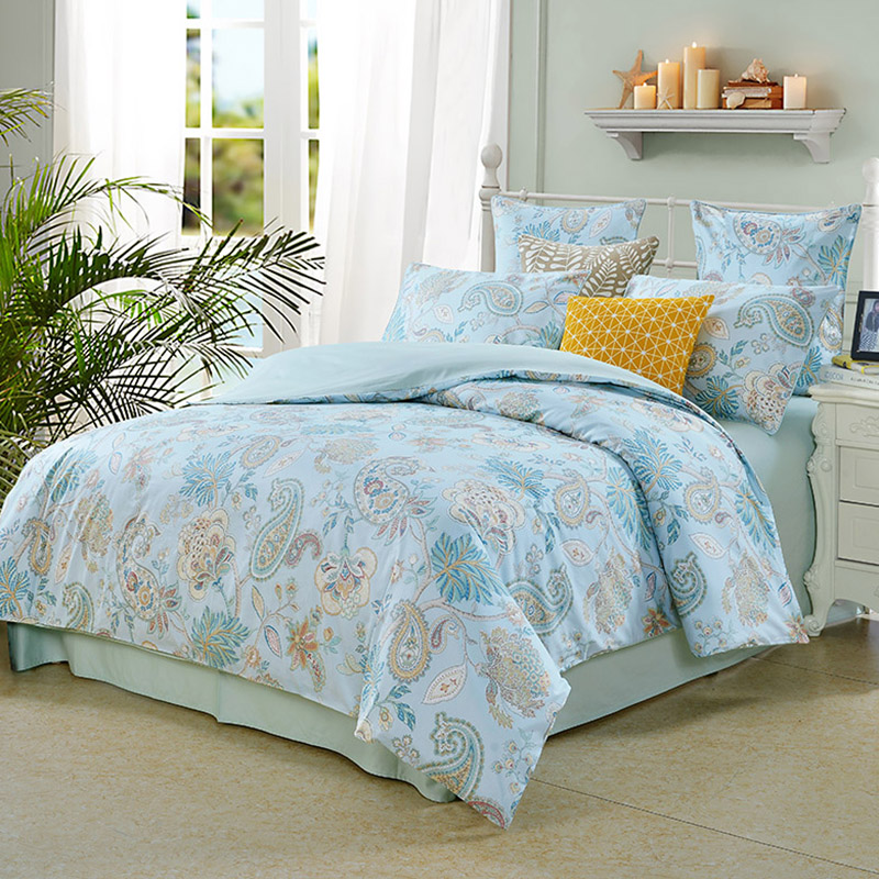 Plant European Duvet Cover Set Reactive Printing Four-Piece Set Polyester Bedding Sets Fitted Sheet