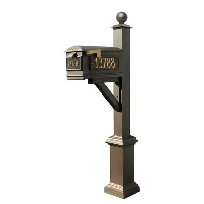 WPD-SB1-S4-LM-3P-BRZ Westhaven System with Lewiston Mailbox  (3 Cast Plates) Square Base & Large Ball Finial in