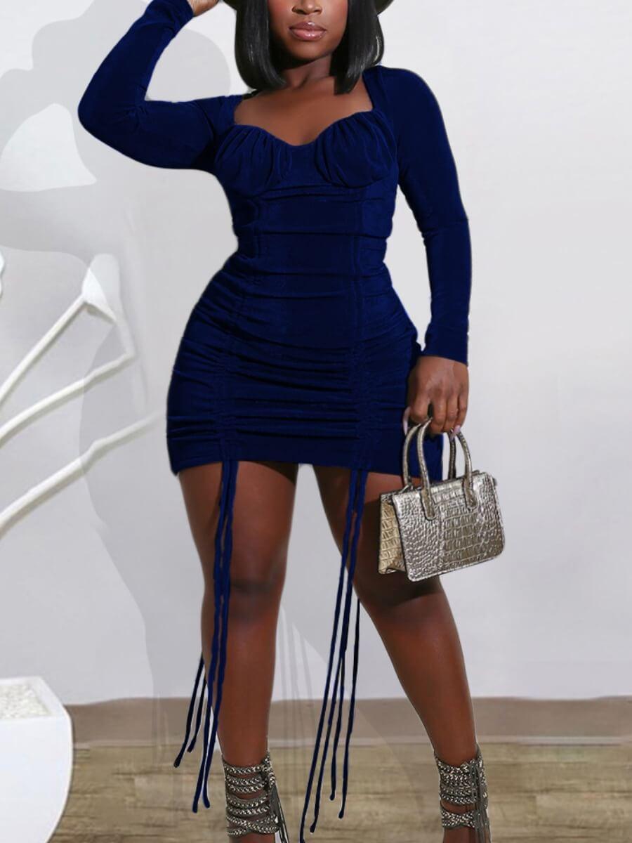 LW Lovely Trendy Square Collar Fold Design Blue Mini Dress