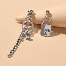Lock & Key Charm Mismatched Drop Earrings