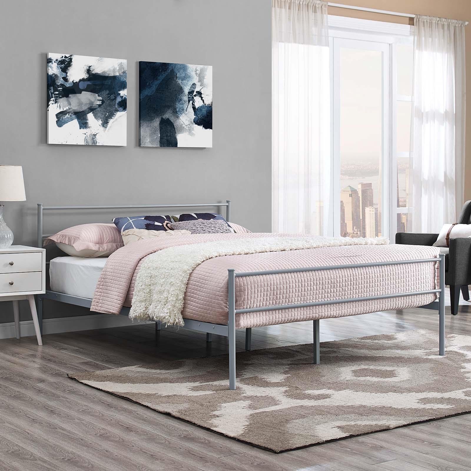 Alina Full Platform Bed Frame in Gray