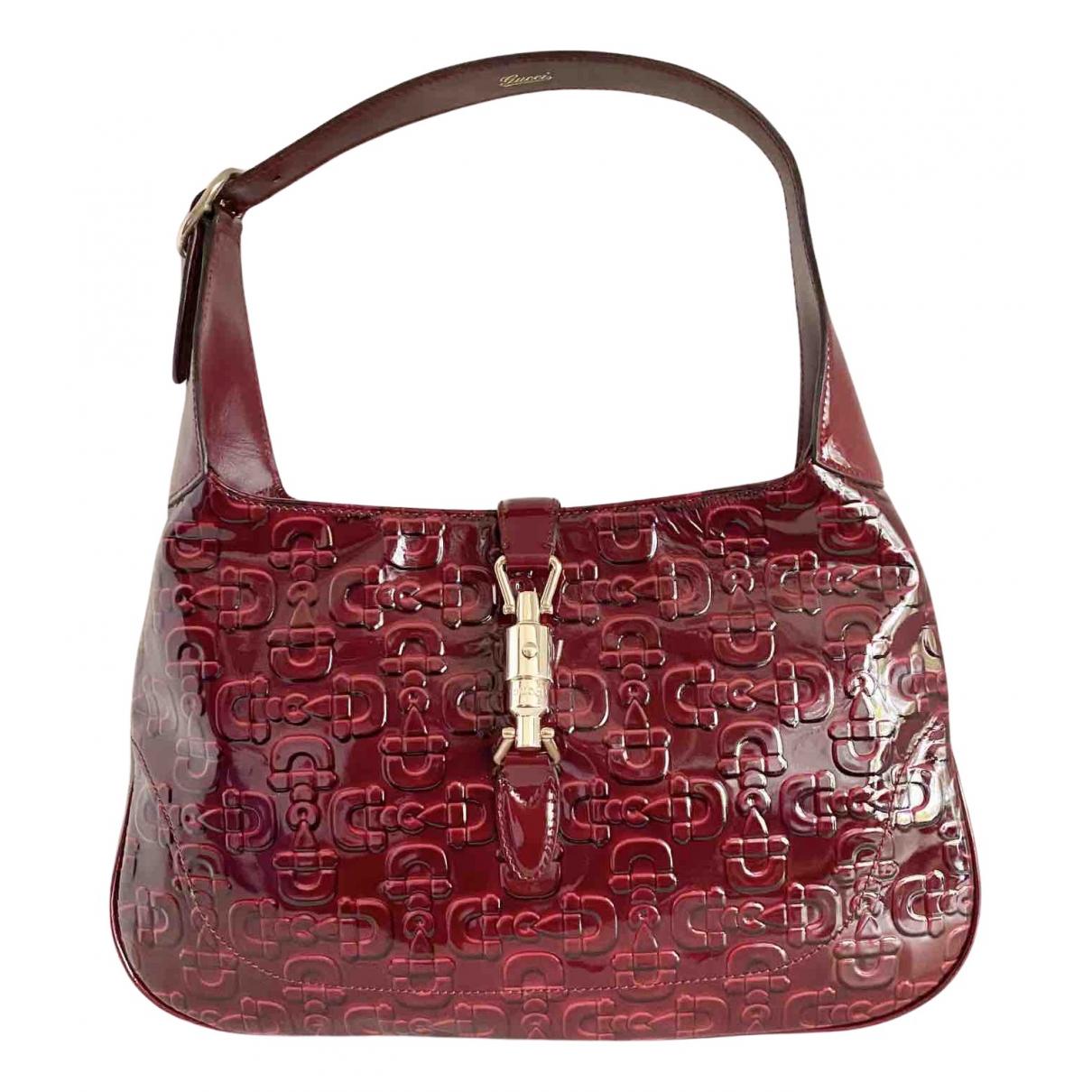 Gucci Jackie Burgundy Patent leather handbag for Women N
