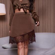 Faldas Encaje en contraste Liso Elegante