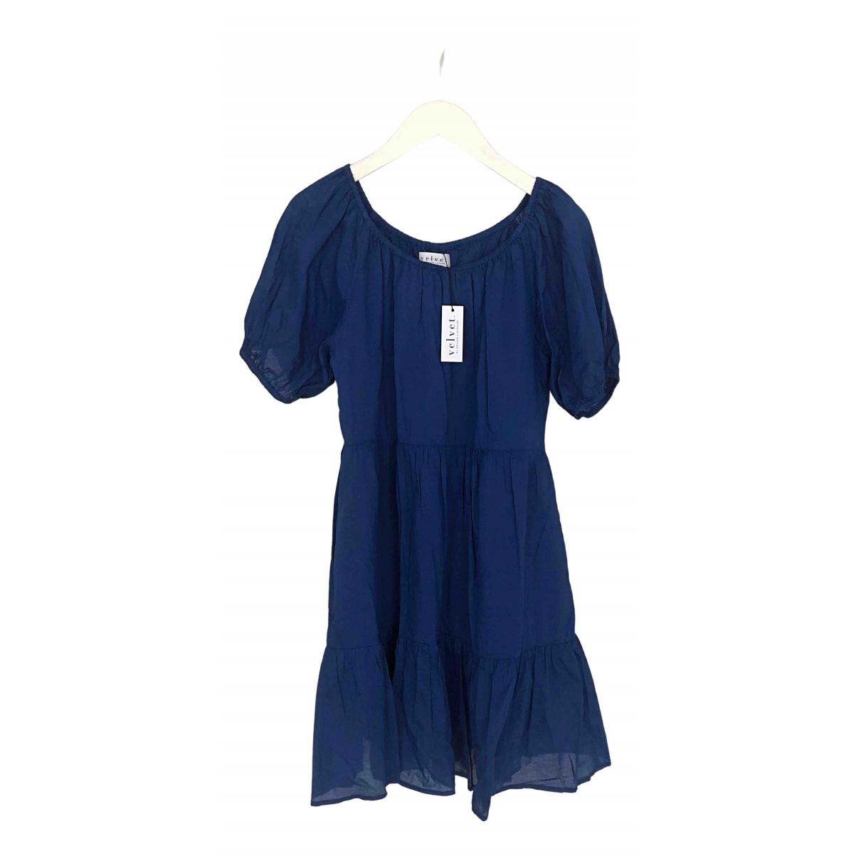 Velvet \N Kleid in  Blau Baumwolle